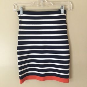 BCBGMaxAzria Blue White Striped Bodycon Skirt XS
